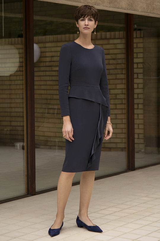 Langbourne Dress Navy Crepe