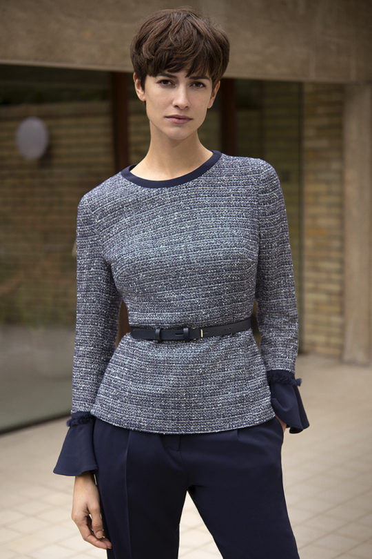 Latimer Top Navy Tweed