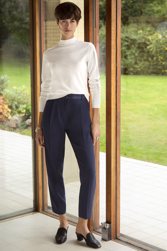Leander Trousers Navy Crepe