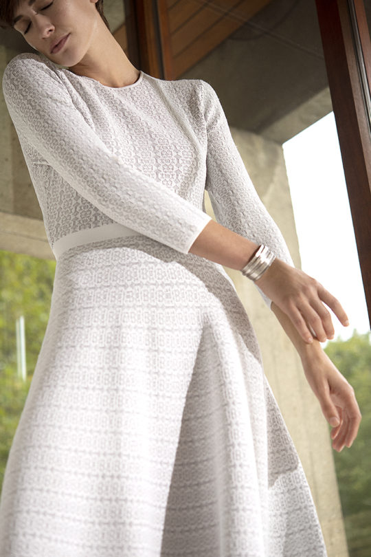 Rennes Dress Ivory And Navy Knitted Jacquard 5