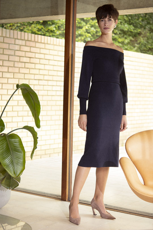Toulouse Dress Navy Viscose