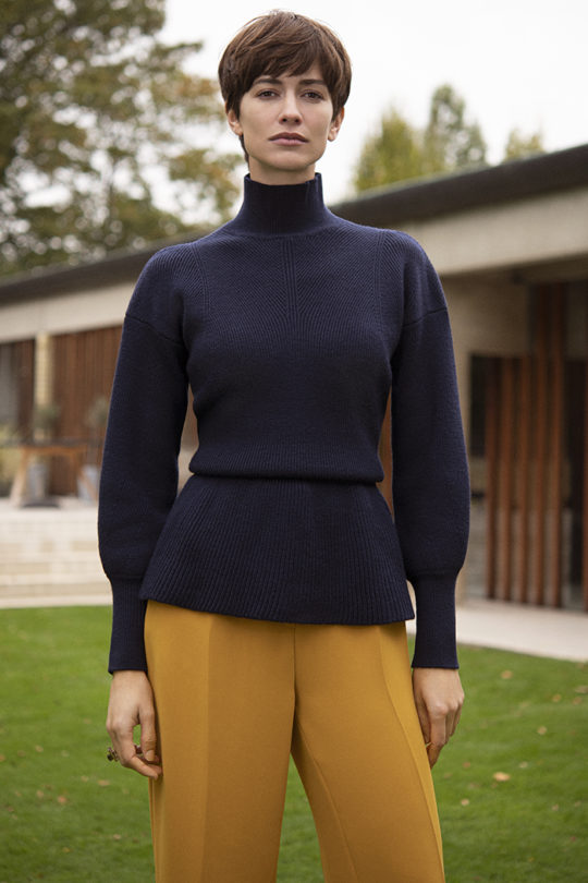 Verbier Sweater Navy Peplum