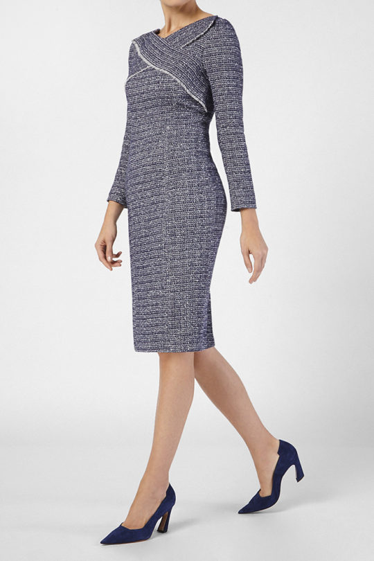 Glenmore Dress Navy Tweed 2