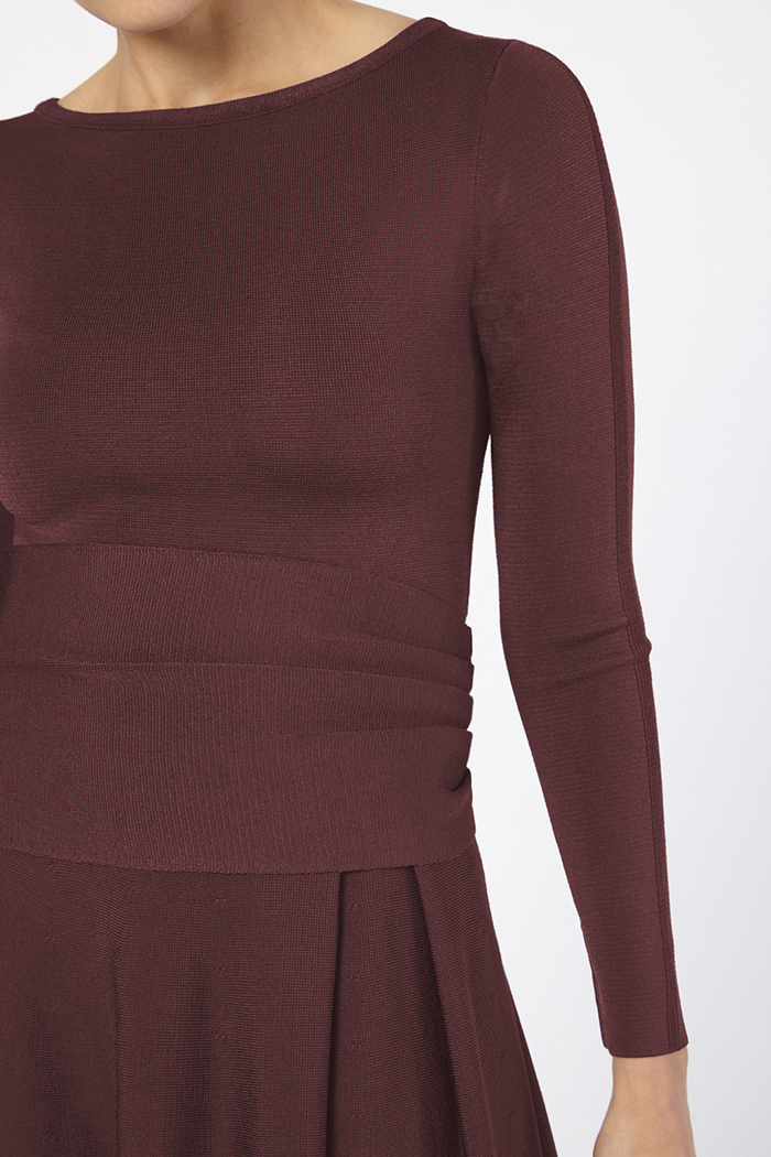 Knitted Camelot Dress Bordeaux Viscose