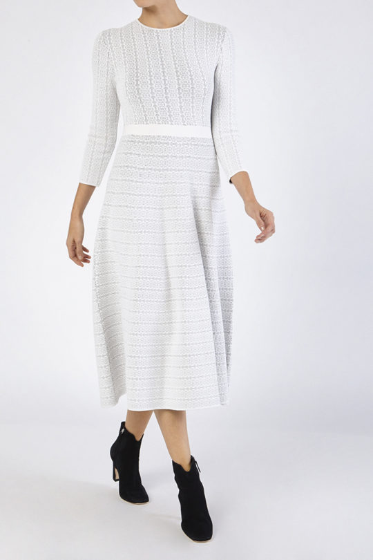 Rennes Dress Ivory And Navy Knitted Jacquard 2
