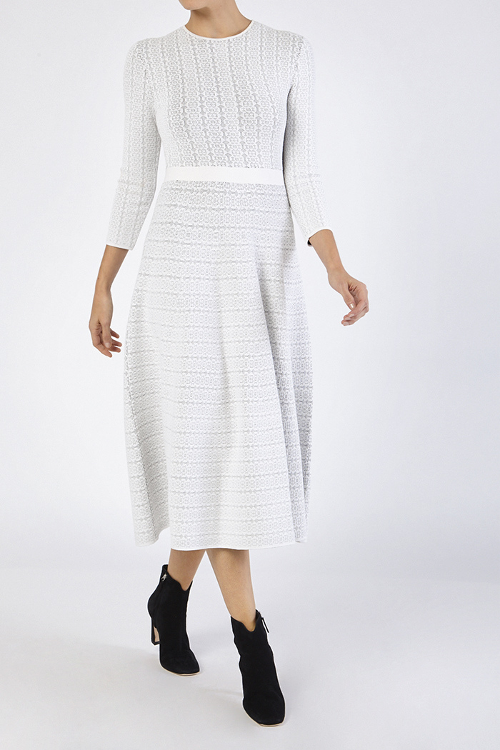 Rennes Dress Ivory And Navy Knitted Jacquard