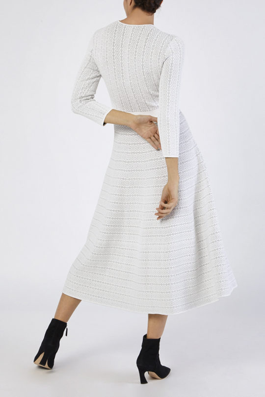 Rennes Dress Ivory And Navy Knitted Jacquard 3