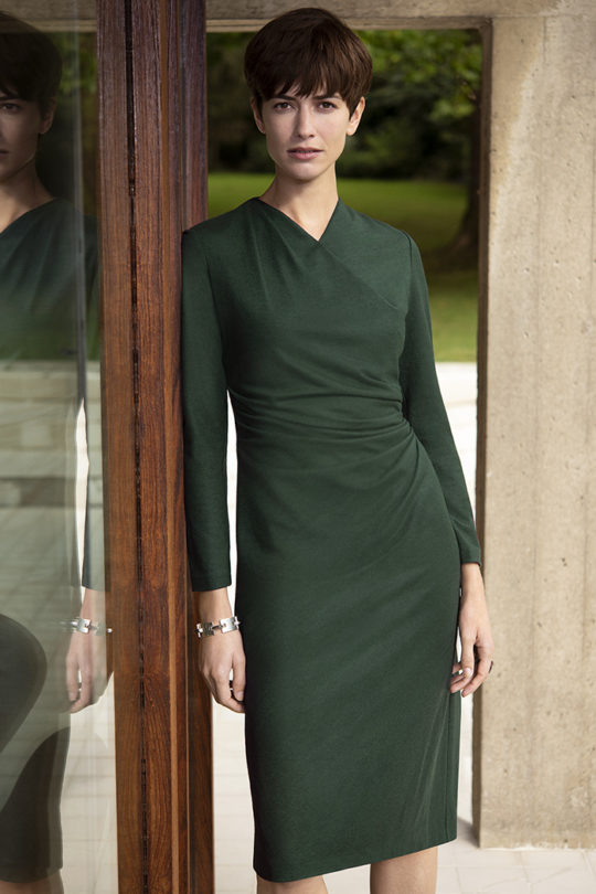 Belgravia Dress Dark Green Wool Jersey