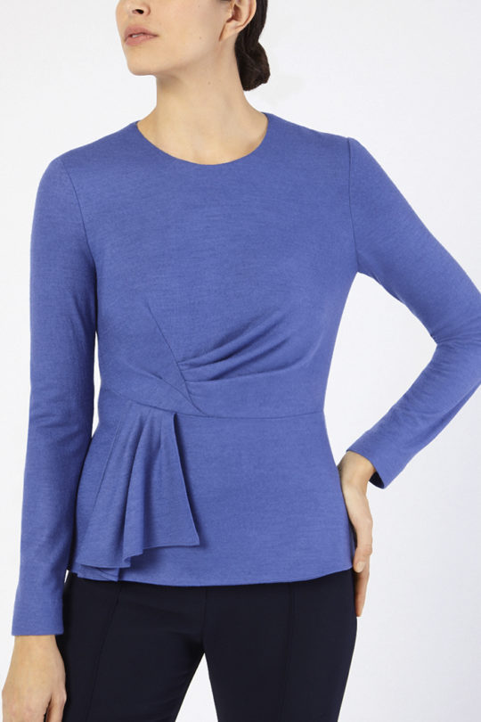 Calverley Top Blue Wool Jersey
