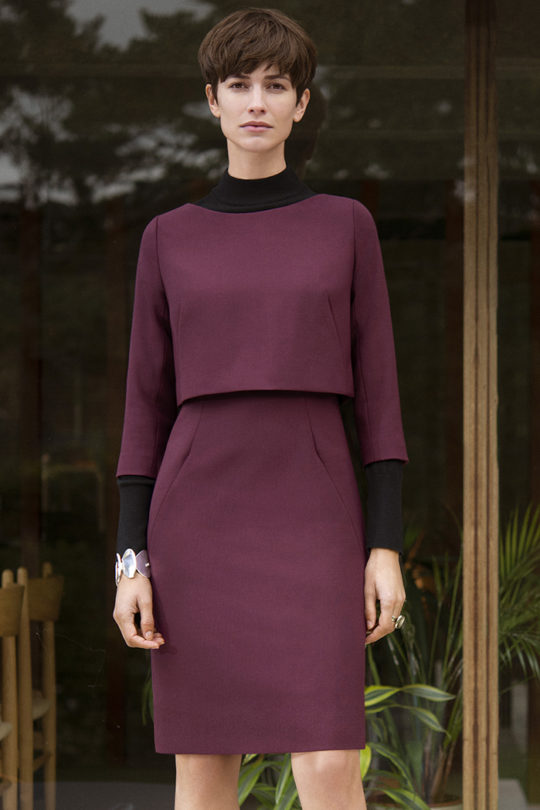 Northcote Dress Dark Magenta Wool 1