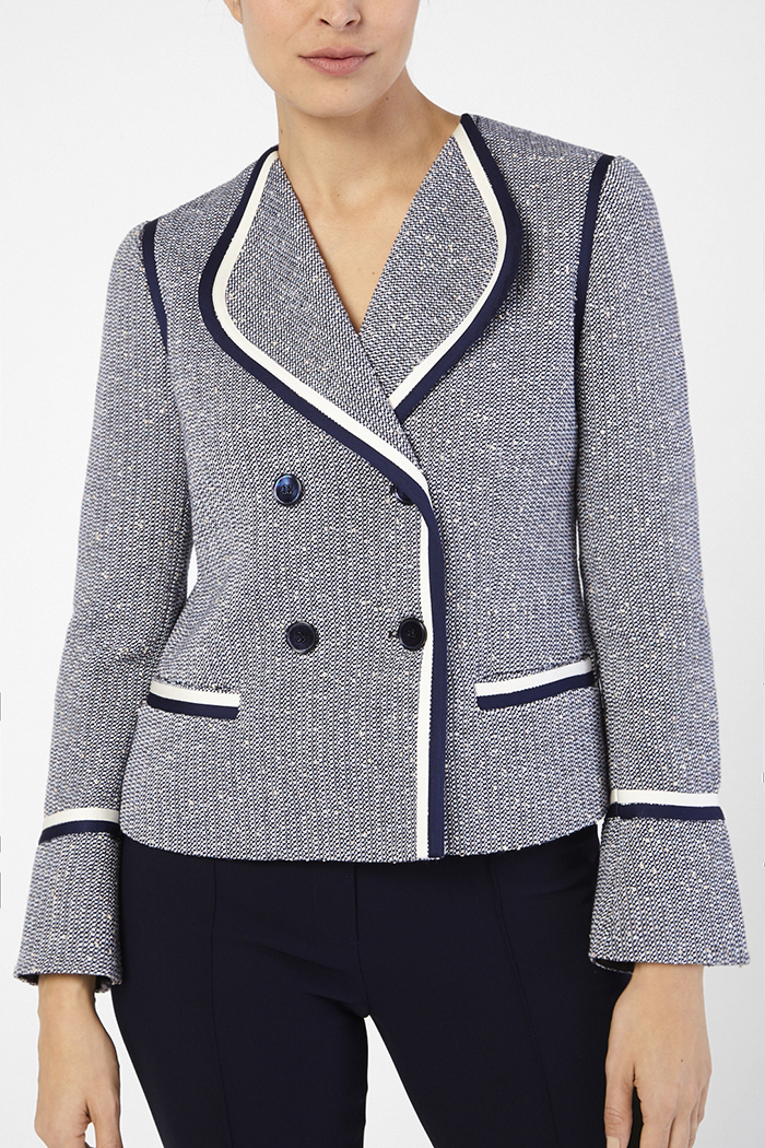 Farley Jacket Navy And Ivory Tweed