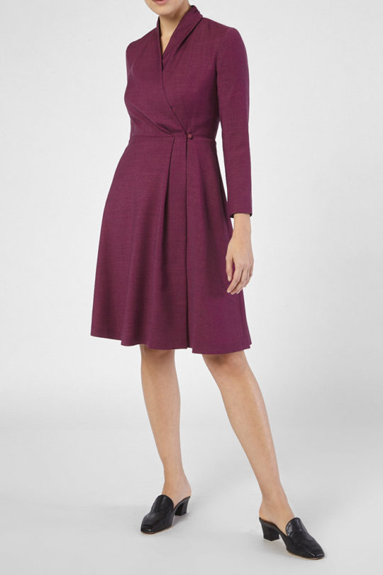 Hampton Dress Mulberry Tweed 3