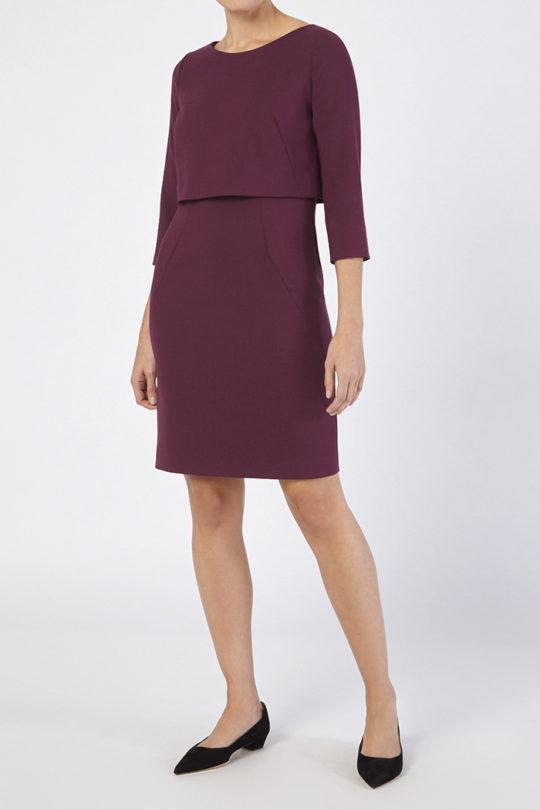Northcote Dress Dark Magenta Wool 3