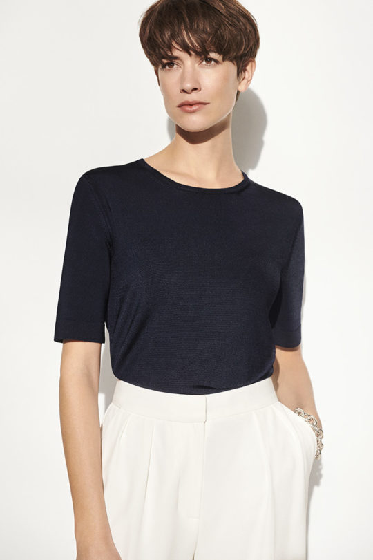 Lyon Knitted Top Navy Viscose 1