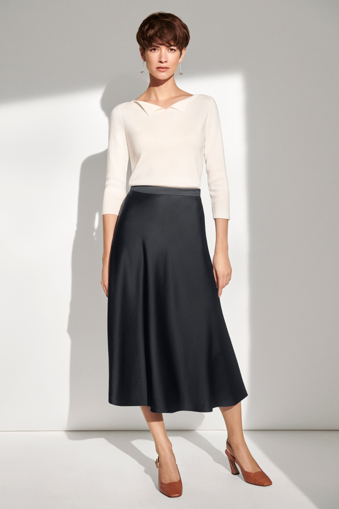 Kelmore Midi Skirt Navy Satin