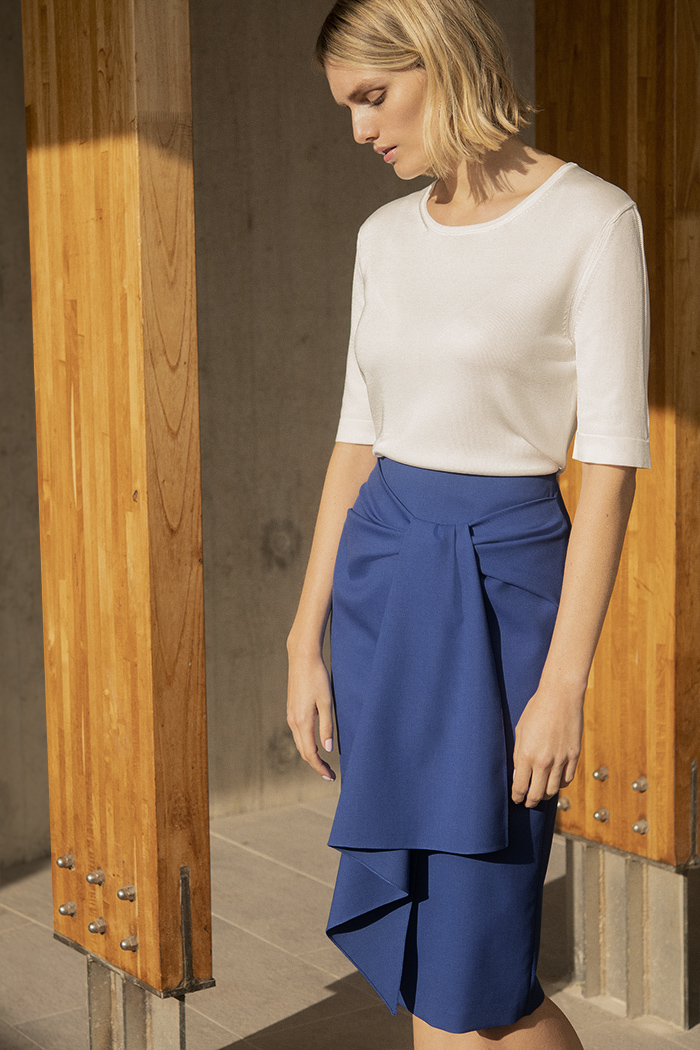 Clissold Skirt Blue Honeycomb