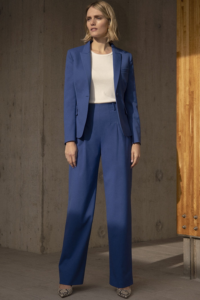 Hartley Wide Leg Trousers Blue Honeycomb