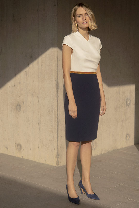 Montpellier Dress Navy And Ivory Crepe 5