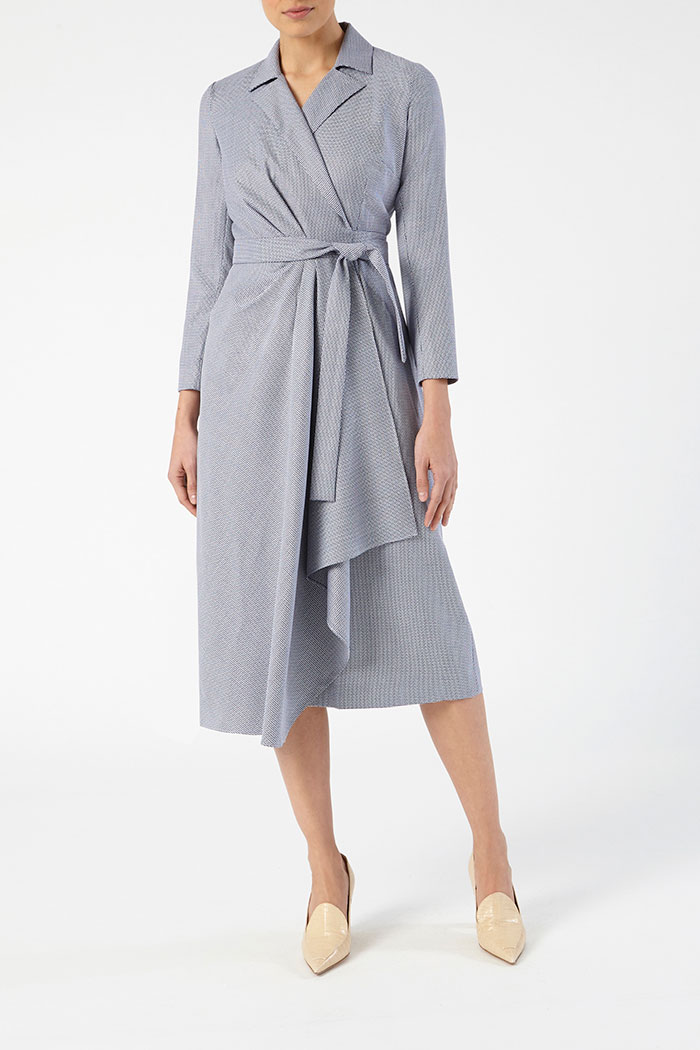 Avignon Dress Blue Jacquard