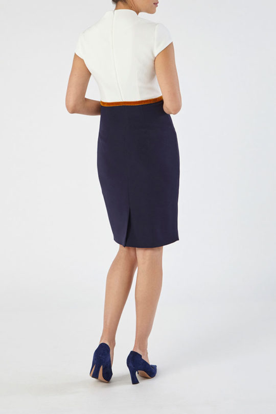 Montpellier Dress Navy And Ivory Crepe 4