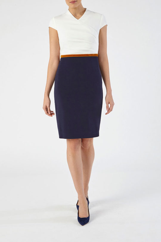 Montpellier Dress Navy And Ivory Crepe