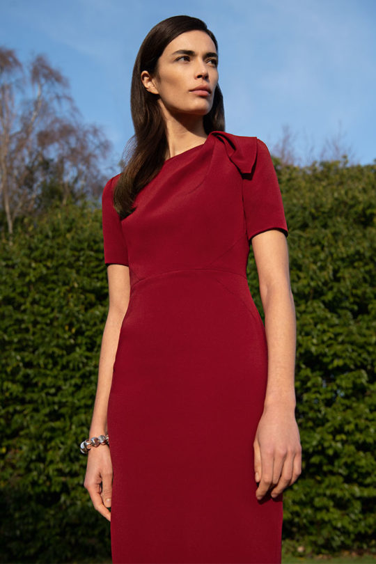 Melrose Dress Cherry Crepe 1
