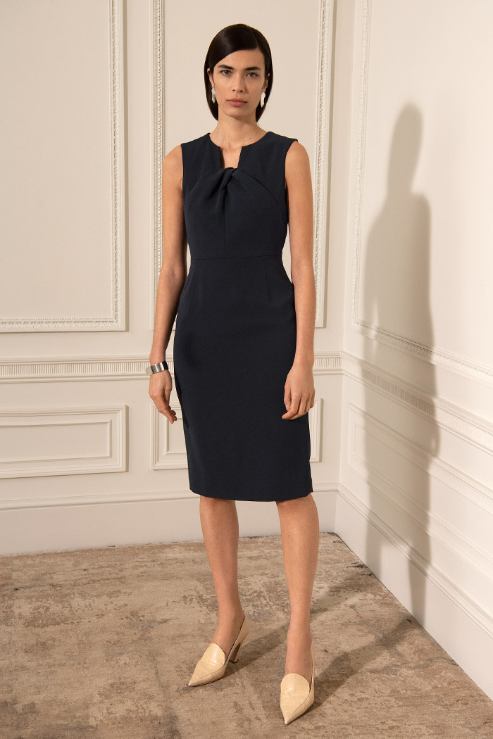 Sleeveless Waverley Dress Navy Crepe