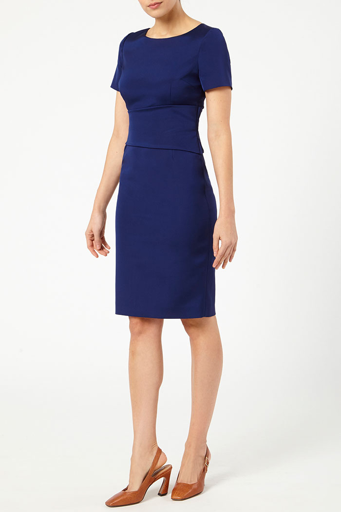 Short Sleeve Berkeley Dress Indigo Stretch Satin
