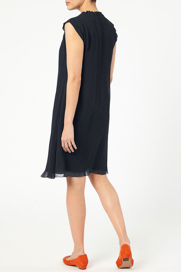 Andeville Dress Navy Crinkled Georgette