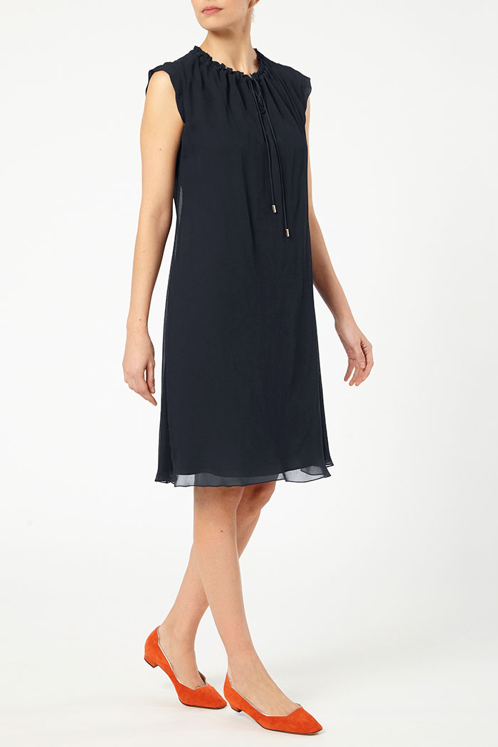 Andeville Dress Navy Crinkled Georgette 3