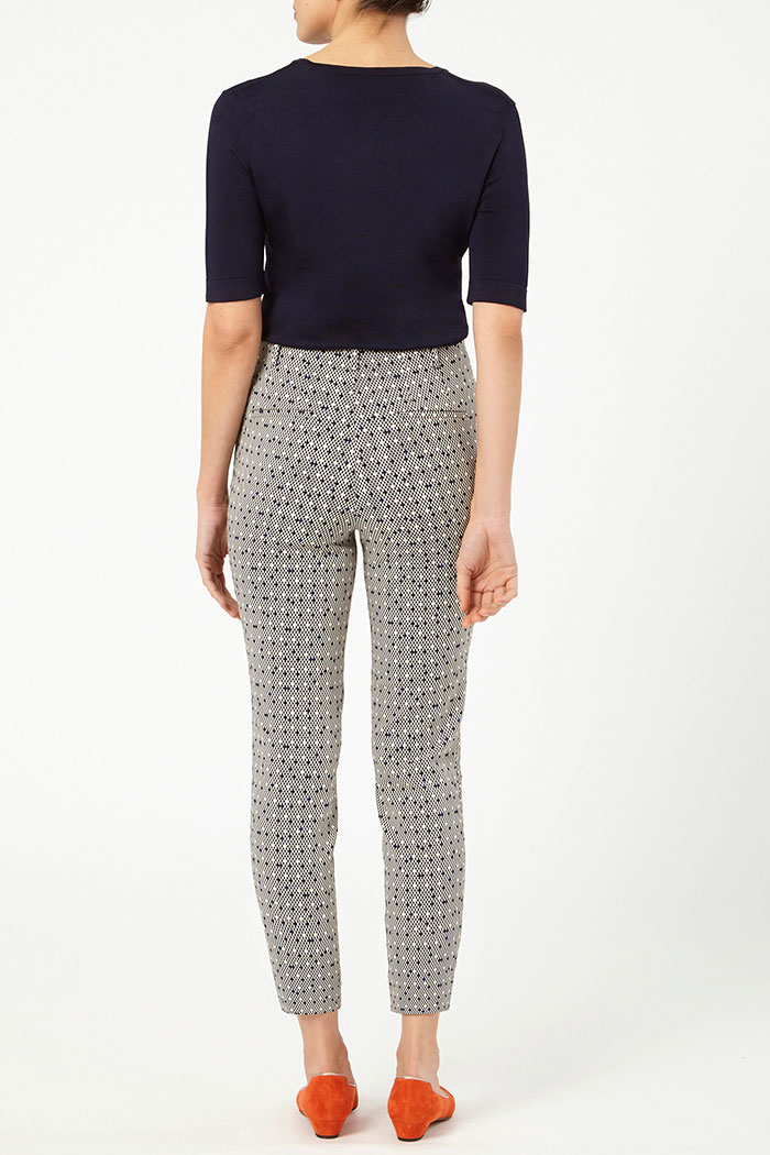 Nimes Trousers Navy And Ivory Jacquard 4