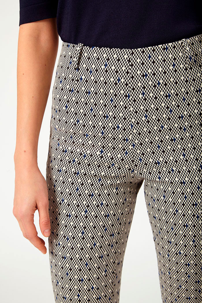 Nimes Trousers Navy And Ivory Jacquard