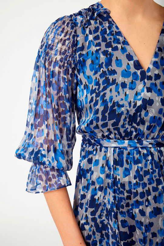 Versailles Dress Blue Silk Chiffon Print