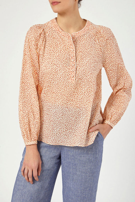 Corsica Blouse Orange Spot Cotton 3