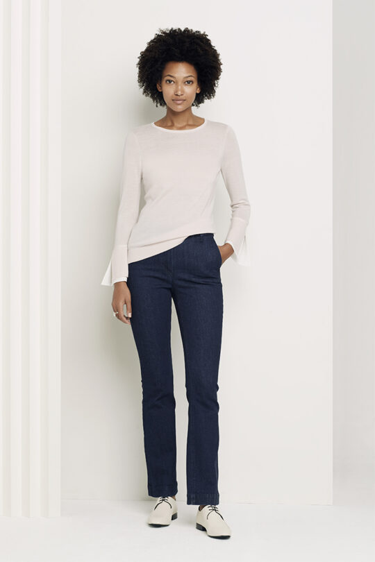 https://thefoldlondon.com/wp-content/uploads/2018/01/Kielder_Silk_Cuff_Jumper_Blush_DK020_Denim_Slim_Bootcut_Trousers_DT091_2685-copy.jpg